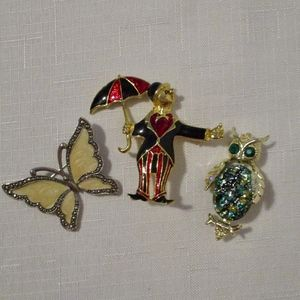 3 Vintage Enamel, Gold Tone & Marcasite Brooches